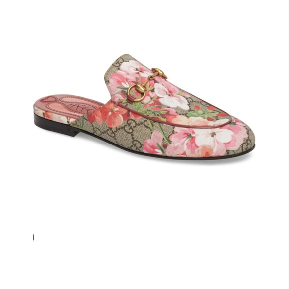 6a242cf7f Gucci Shoes | Floral Pink Princetown Slipper Beige Print | Poshmark